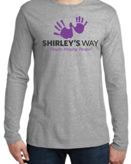 Shirley's logo long sleeve t-shirt-Cancer Sucks logo-Shirley's Way-Cancer Sucks-Help with bills-People Helping People-goHaffers-Split the pot-Queen of Hearts