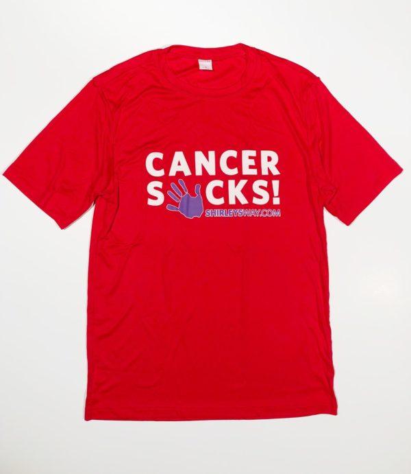 cancer sucks T red-Cancer Sucks logo-Shirley's Way-Cancer Sucks-Help with bills-People Helping People-goHaffers-Split the pot-Queen of Hearts