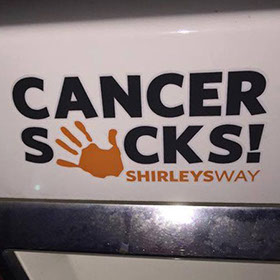 cancer sucks logo decal-Cancer Sucks logo-Shirley's Way-Cancer Sucks-Help with bills-People Helping People-goHaffers-Split the pot-Queen of Hearts