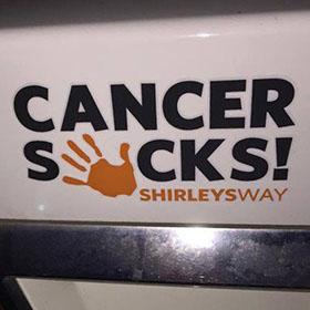 cancer sucks logo decal-Cancer Sucks logo-Shirley's Way-Cancer Sucks-Help with bills-People Helping People-goHaffers-Split the pot-Queen of Hearts